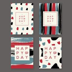 Set of trendy hand drawn design birthday greeting cards.