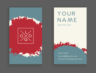 Trendy business card template, creative abstract hand drawn vector design editable