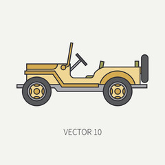 Line flat color vector icon service staff open body army car. Military vehicle. Cartoon vintage style. Cargo transportation. Tractor unit. Tow auto. Simple. Illustration and element for your design.