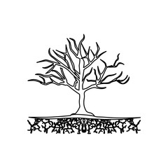 figure tree without leaves icon, vector illustraction design image