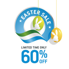 Easter Sale 60 percent flag blue color logo icon