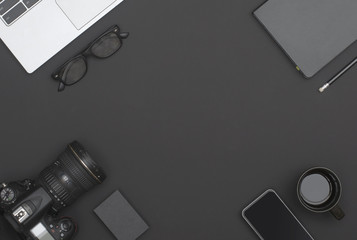 black office desk hero header