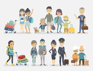 Wall Mural - Traveling people, family, friends, couple, seniors, adventurers with baggage.