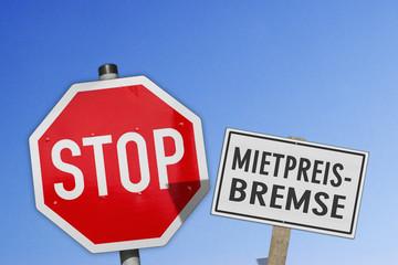 Schilder Stop, Mietpreisbremse