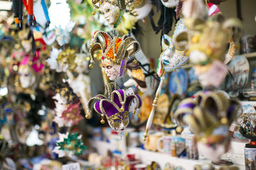 Colorful carnival Venetian masks on the market