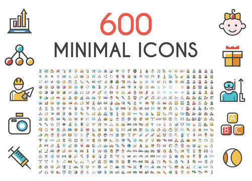 Set of 600 Minimalistic Solid Line Colored . Isolated Vector Elements