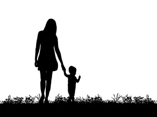 Vector, silhouette of mother walking with hand with child