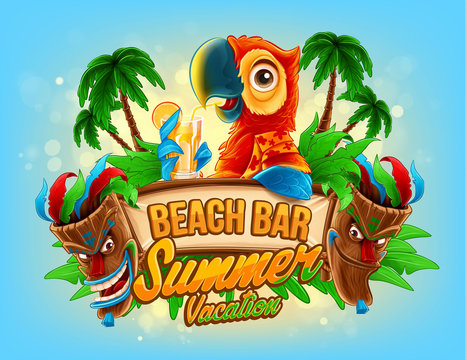 summer vacation illustration for beach bar