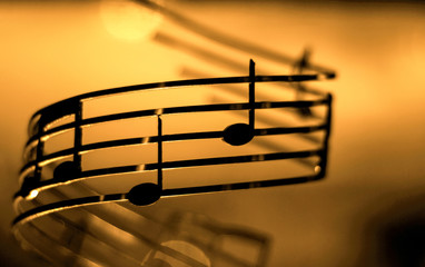 music notes, shallow dof, color effect added