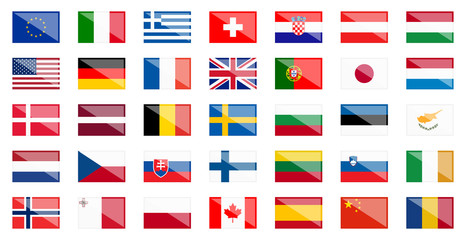 flags of different countries with reflection
