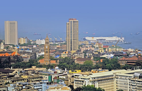Elevated view of Stock Exchange of Mumbai India