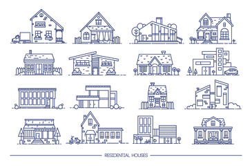 Line art residential house collection. Set of flat style. Contour vector illustration.