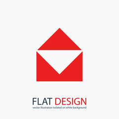Mail  icon, vector illustration. Flat design style