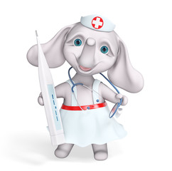 Cartoon character nurse elephant holding stethoscope and thermometer 3d rendering