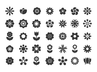 Bright ornamental shapes of the flowers. Flat floral elements for garden design or funny women's and children's prints.
