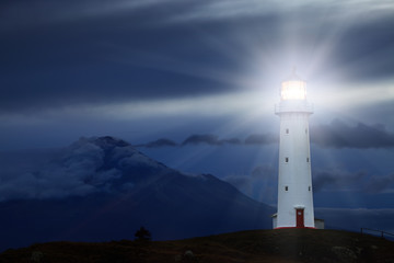 Fotobehang Vuurtoren Cape Egmont Lighthouse, New Zealand