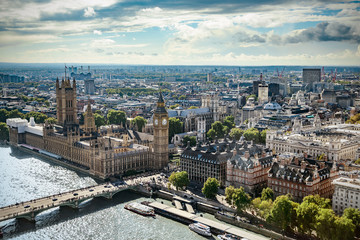 Aerial view of Big Ben, Parliament Building and Westminster Bridge on River Thames, London, UK, Europe