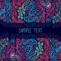 Ethnic abstract floral vector seamless pattern frame. Can be used for banner, card, poster, invitation, label etc.