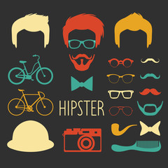 Big vector set of dress up constructor with different men hipster haircuts, glasses etc. Male faces icon creator.