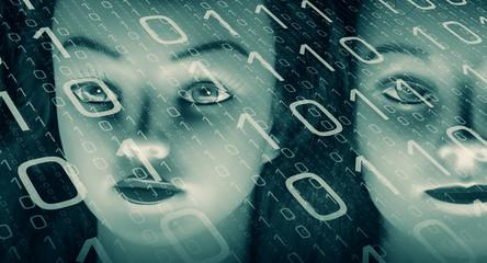 Computer screen binary code, cyber attack