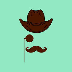 Hat, glasses and mustaches on turquoise background.