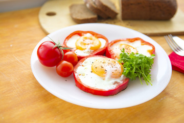 Fried eggs in paprika served on white plate
