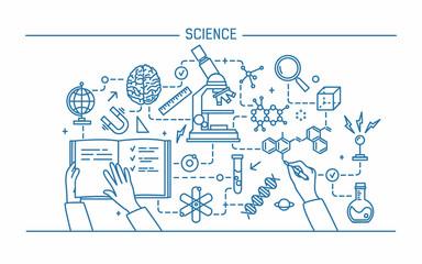 Line art contour vector illustration. Science word and technology concept. flat design banner for website.