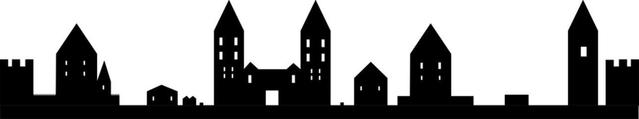 Town Silhouette. City Icon. Symbol Of Small Town. Vector