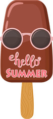 Hello Summer lettering. Chocolate ice cream in hippie sun glasses with quote. Handwritten script/sign/inscription. Perfect design element for banner, flyer, postcard or poster. Vector art.