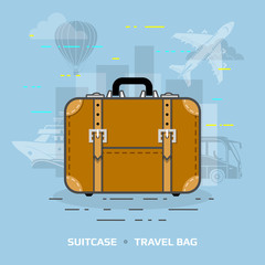 Flat illustration of suitcase against blue background. Flat design of travel bag, front view. Qualitative vector illustration about travel, luggage, tourism, accessory, vacation, baggage, trip, etc