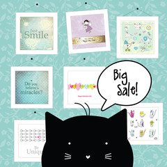 Big spring sale. Cat character. Background template. Design elements. Pictures. Baby shower design elements.