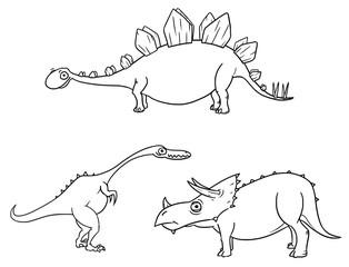 Cartoon Vector Set 04 of Ancient Dinosaur Monsters