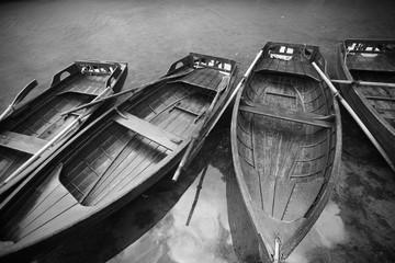 Wooden pleasure boats on the lake. Plitvice. Croatia