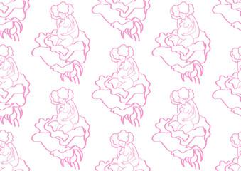 Seamless vector texture , motherhood , pregnant woman in flower