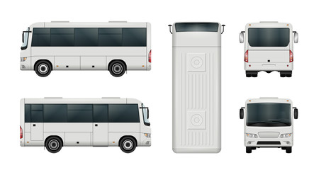 White mini bus vector template. Isolated city minibus. All elements in the groups have names, the view sides are on separate layers. There is the ability to easily editing.