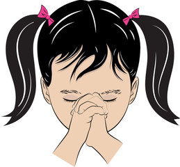 A color vector drawing of a young girl with her hands folded saying her prayers.