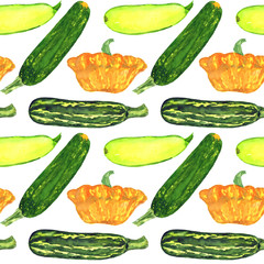 Zucchini and squash variety, seamless pattern hand painted watercolor illustration