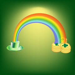 St. Patricks Day. Holiday magic. Green hat. Rainbow. A stack of gold coins. Vector illustration .