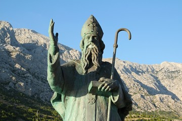 Statue of St. Nicholas in Baška Voda, Croatia