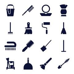 Set of 16 brush filled icons
