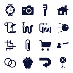 Set of 16 image filled icons