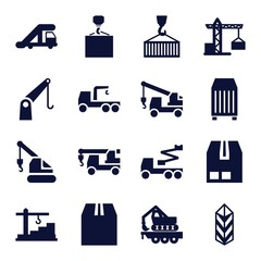 Set of 16 crane filled icons