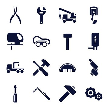 Set of 16 industry filled icons