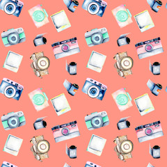 Seamless pattern with watercolor retro cameras, snapshots and films, hand drawn isolated on a coral background