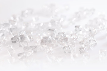 natural transparent diamonds in macro on white