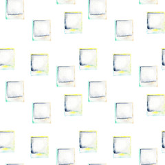 Seamless pattern with watercolor polaroid snapshots, hand drawn isolated on a white background
