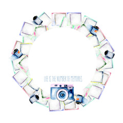 Circle frame, wreath with watercolor polaroid snapshots, hand drawn on a white background, invitation, greeting card