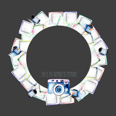 Circle frame, wreath with watercolor polaroid snapshots, hand drawn on a dark background, invitation, greeting card