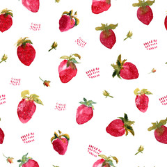 Seamless pattern of watercolor strawberries with flowers illustration