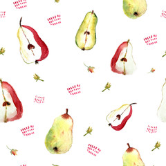 seamless pattern with pears and flowers on white background, cute painted fruits for clothes, home towels.